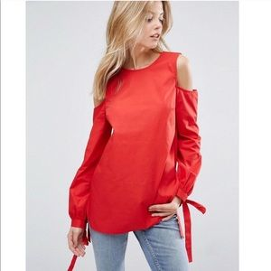 ASOS Red Cold Shoulder Tie Cuff V Back Blouse